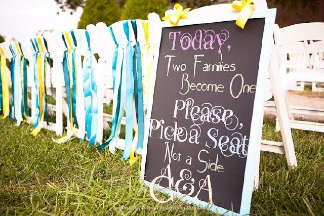 love this saying.  especially if there are no ushers...: Signs Ideas, Chairs, Ribbons, Cute Signs, Wedding, Chalkboards Signs, Pick A Seats, Families, Bride