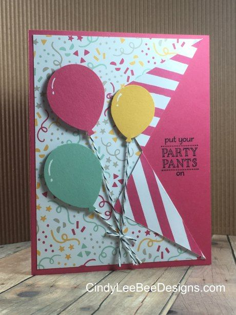 SU Balloon Bouquet Punch with SAB Party Pants Stamp (CindyLeeBeeDesigns)