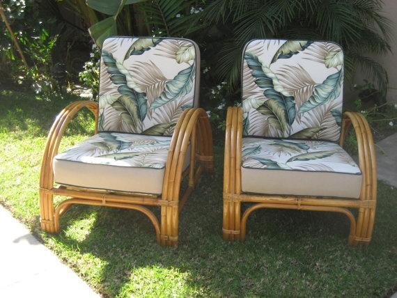 Vintage rattan 1950's half moon club chairs tiki by