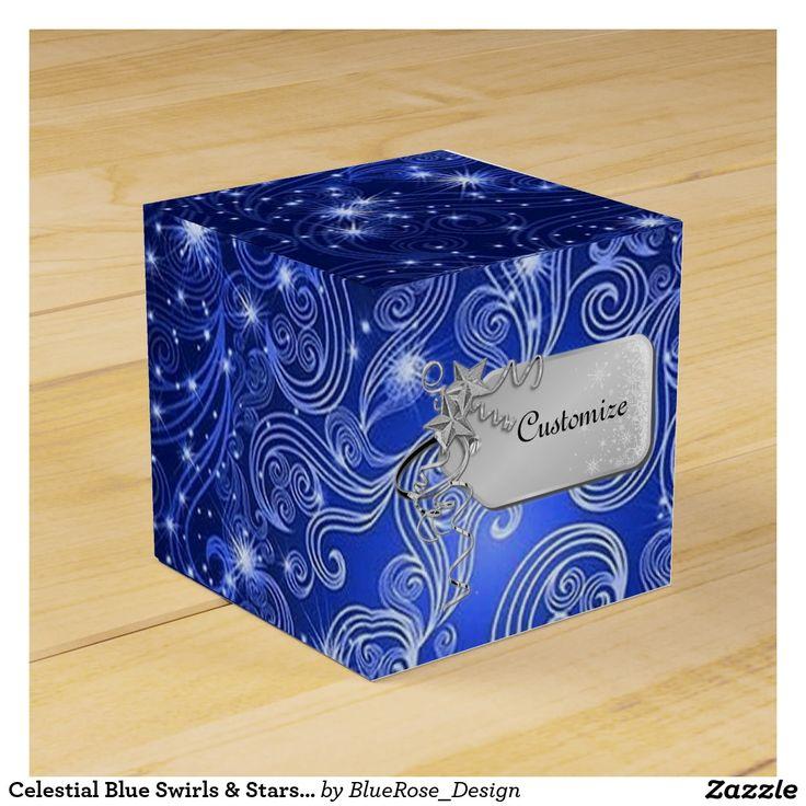 Celestial Blue Swirls & Stars Cube Favor Box