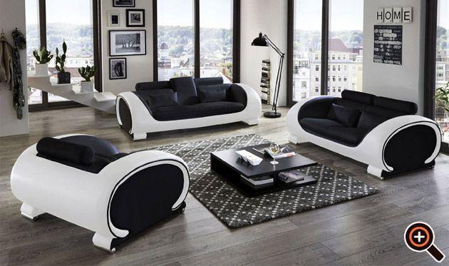 designer couch – modernes sofa fürs wohnzimmer aus leder in weiß, Wohnzimmer