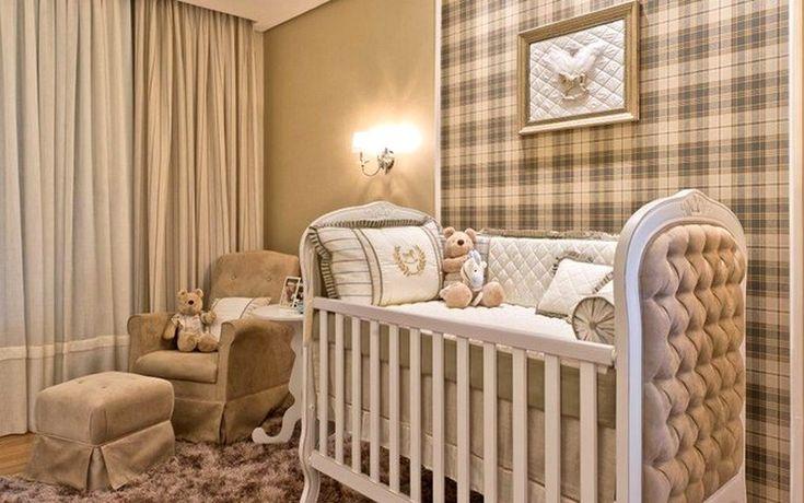 quarto de bebê xadrez marrom