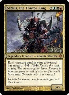 Magic: the Gathering - Sedris, the Traitor King - Shards of Alara by Wizards of the Coast. $2.84. This is of Mythic Rare rarity.. From the Shards of Alara set.. A single individual card from the Magic: the Gathering (MTG) trading and collectible card game (TCG/CCG).. Magic: the Gathering is a collectible card game created by Richard Garfield. In Magic, you play the role of a planeswalker who fights other planeswalkers for glory, knowledge, and conquest. Your deck of ...