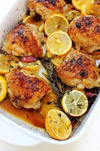 Rosemary Lemon Baked Chicken Thighs | Peachy Palate