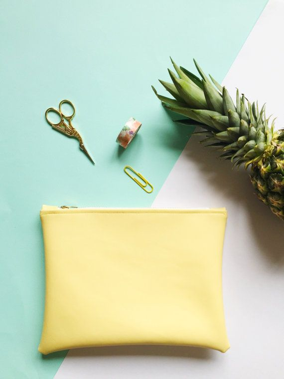 Yellow Leatherette Pineapple Lined Pouch by FantasticCraftyFox