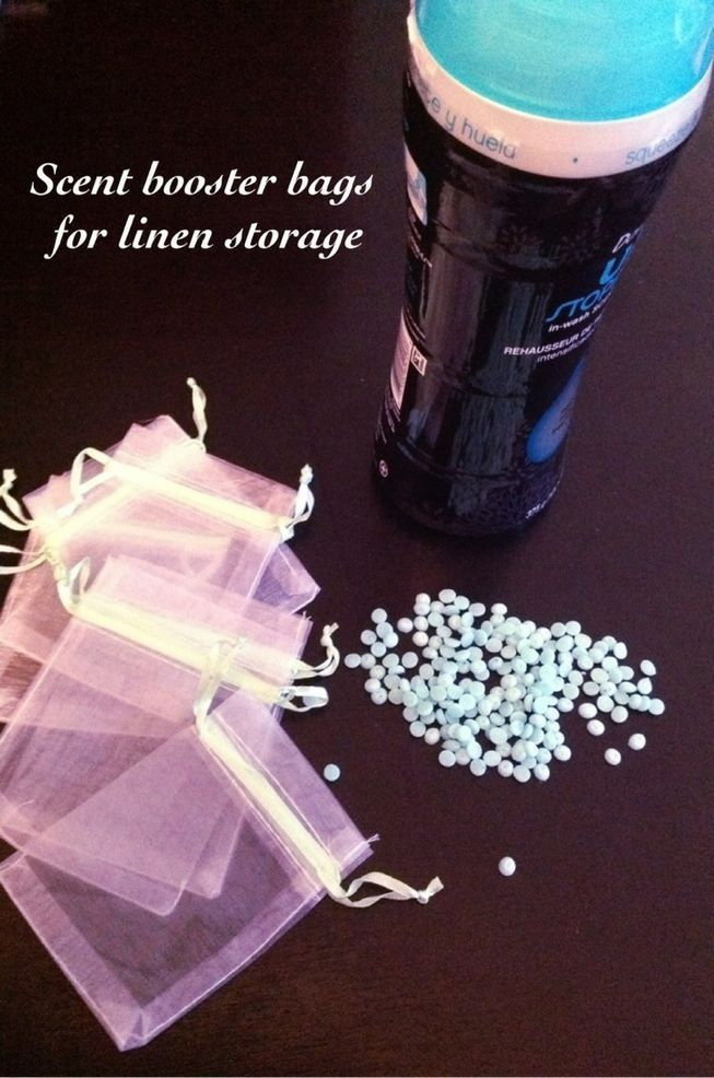 Buy mesh bags from dollar store and fill with downy unstoppables then place in linen closet for fresh smelling towels and sheets all the time!
