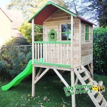Pinewoods Den Wooden Playhouse - Pre Painted Kids Playhouse with Slide & Veranda: Amazon.co.uk: Garden & Outdoors