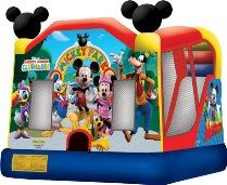 Mickey Mouse Disney Bounce House with Slide - Coming Soon!Bring the Disney Mickey Mouse Club House to your next event! This licensed Mickey Park Combo C4 bouncy castle will bring friendship and activity to all players with its trademark Mickey ears on the top of each tower.