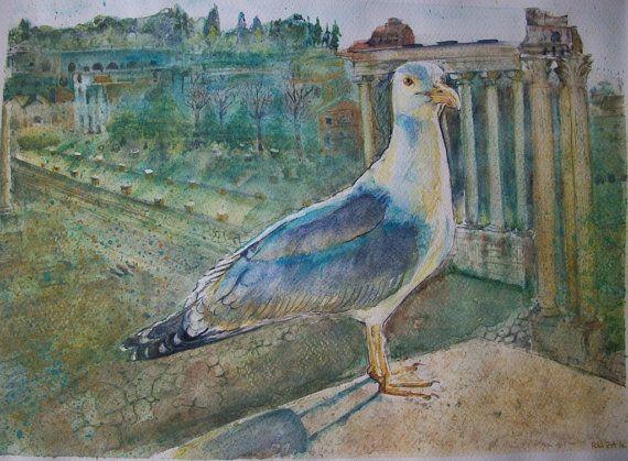Uccello  gabbiano ai Fori Imperiali Roma ad di Stellangelo su Etsy