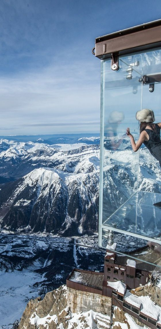 The Aiguille du Midi Skywalk Chamonix Mont Blanc, France.
