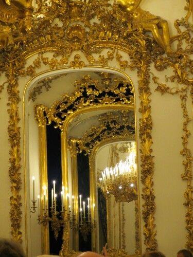 Vienna, reflection of the chandelier in the mirror at the Liechtenstein Palace