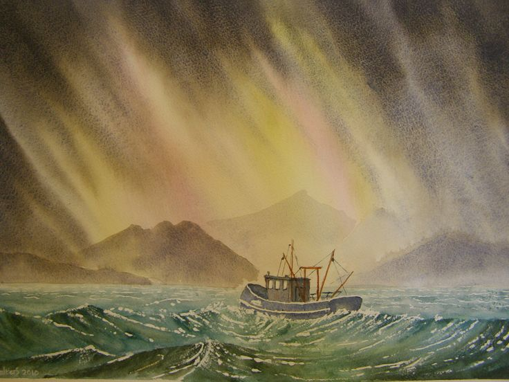 Scottish Lobster Boat 12 x 16 water colour by C Walters