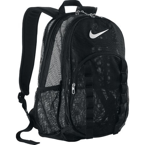 Brasilia Mesh Backpack features a dual-zippered main compartment and multiple pockets including a water bottle pocket.