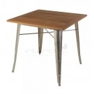 Tolix Marais Table-  Xavier Pauchard Replica- Teak Wood - Galvanized