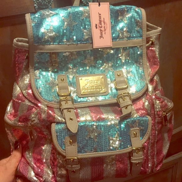 NWT Juicy Couture American Flag sequin backpack Brand new with tags juicy couture American flag sequin backpack. Stunning sequins designed to look like the American flag. Juicy couture plaque on front magnetic snap closure. Adjustable straps. Back is a muted creamy grey. Beautiful! Juicy Couture Bags Backpacks