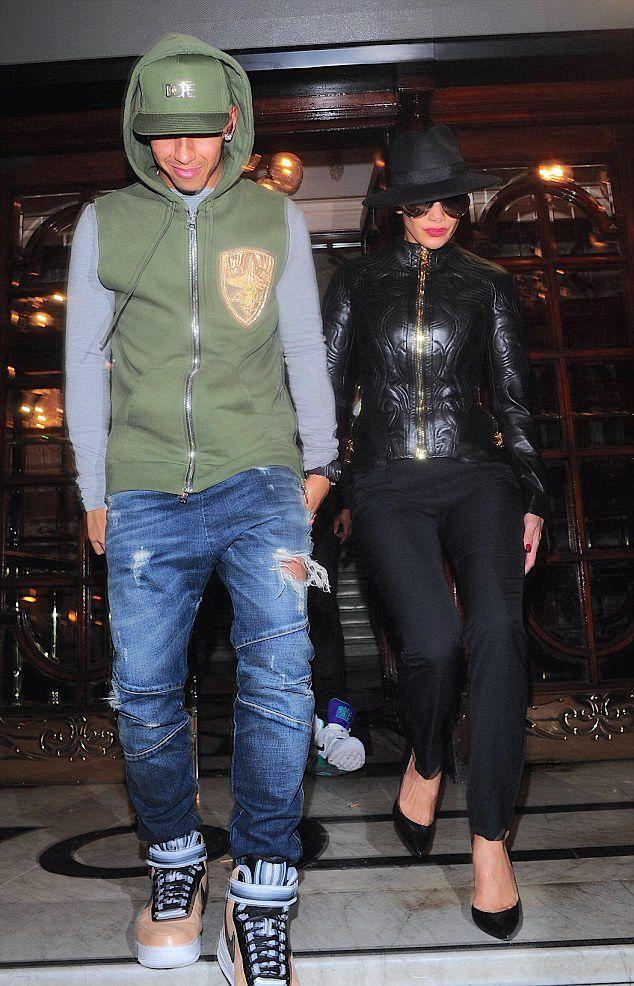 Lewis Hamilton in Balmain - London Street Style http://www.whats-he-wearing.com/2014/12/lewis-hamilton-wears-balmain-sleeveless-embroidered-hoodie-london-palladium.html?spref=tw