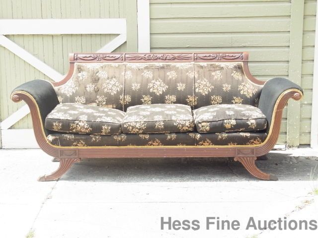 St Pete Tampa Special Antique Duncan Phyfe Carved Mahogany 1920s Sofa To Fix NR #DuncanPhyfe