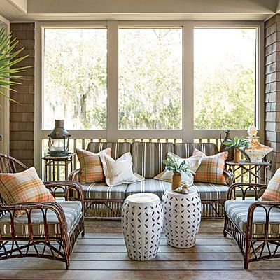 screened porch at a beach house - featured in Southern Living magazine