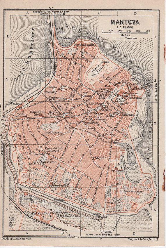 1928 Mantova Italy Antique Map Mantua Italia by Craftissimo