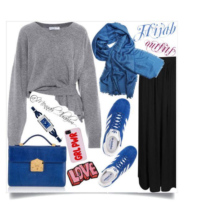 """#Hijab_outfits #modesty #Casual #feminine #Blue"" by mennah-ibrahim on Polyvore featuring adidas, Balenciaga, Boohoo, Bulgari, Rubeus, Stoney Clover Lane and Jaeger-LeCoultre"