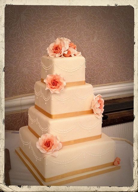 Coral & Gold wedding cake with sugar roses. Ivory & Rose Cake Co.