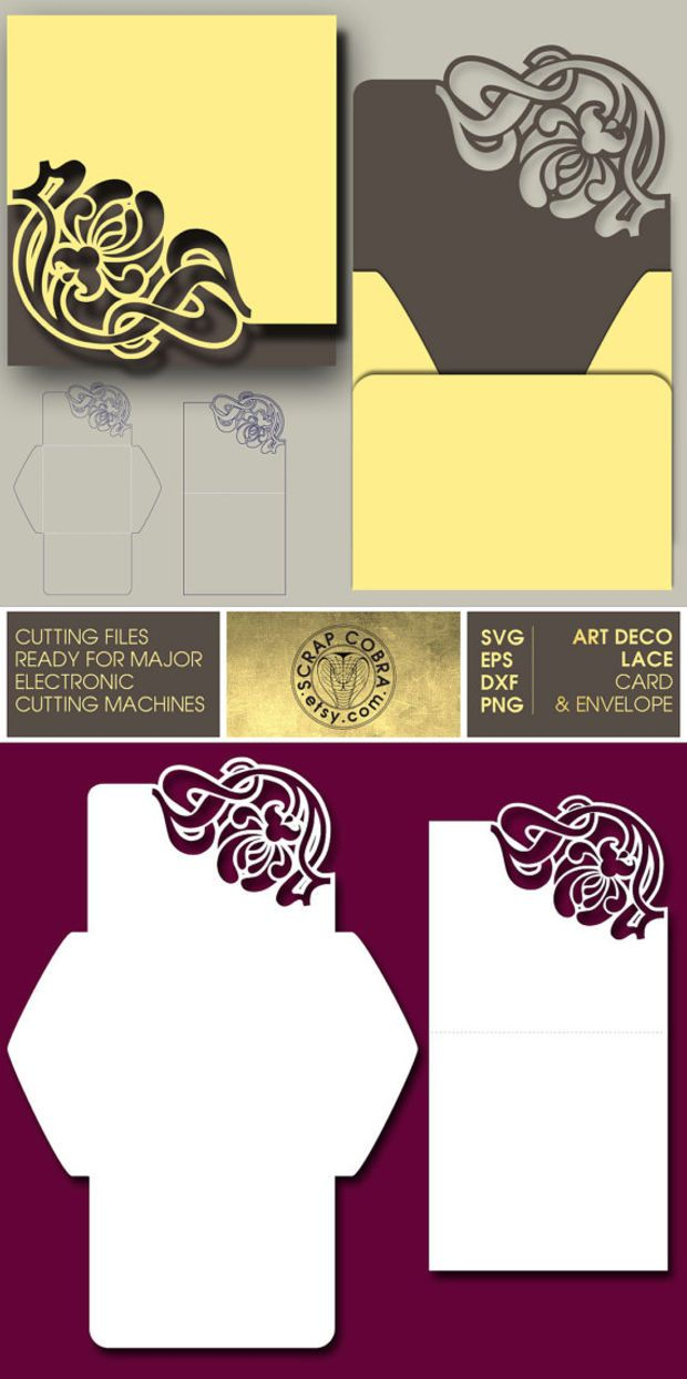 Art Deco Lace Card & Envelope. SVG, eps, DXF, PNG Cut Files. Silhouette, Cricuit, other electronic cutting machines, Digital Download cv365