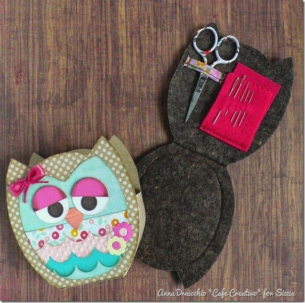 cafe creativo - big shot sizzix - owl - gift - packaging - sewing set