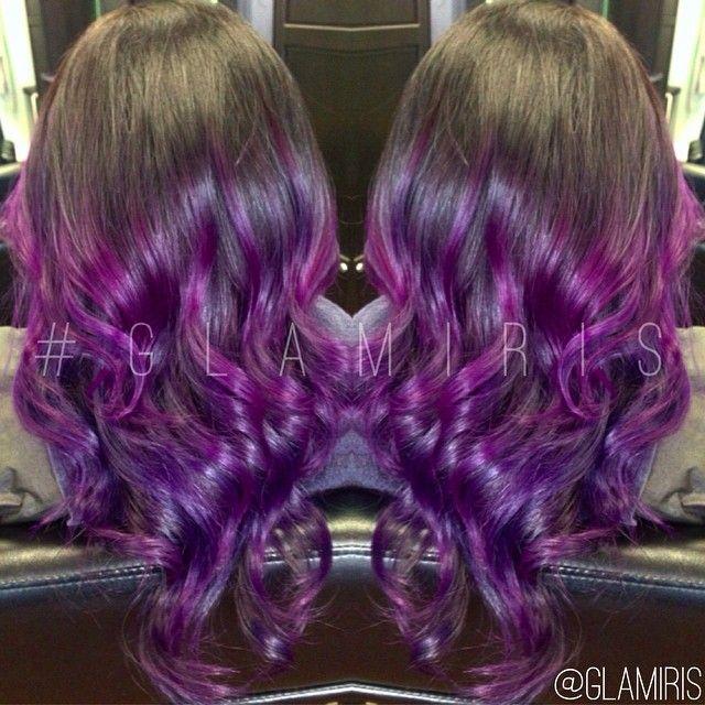 Black into purple ombré hair