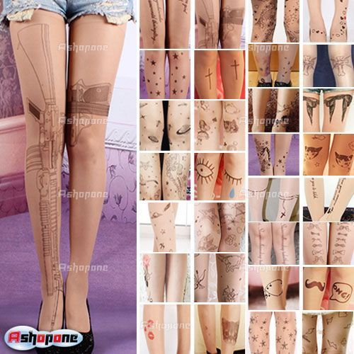 Love the guns!!!!   Fashion Sexy Women Tattoo Pattern Transparent Tights Pantyhose Stockings Free Shipping $24.83