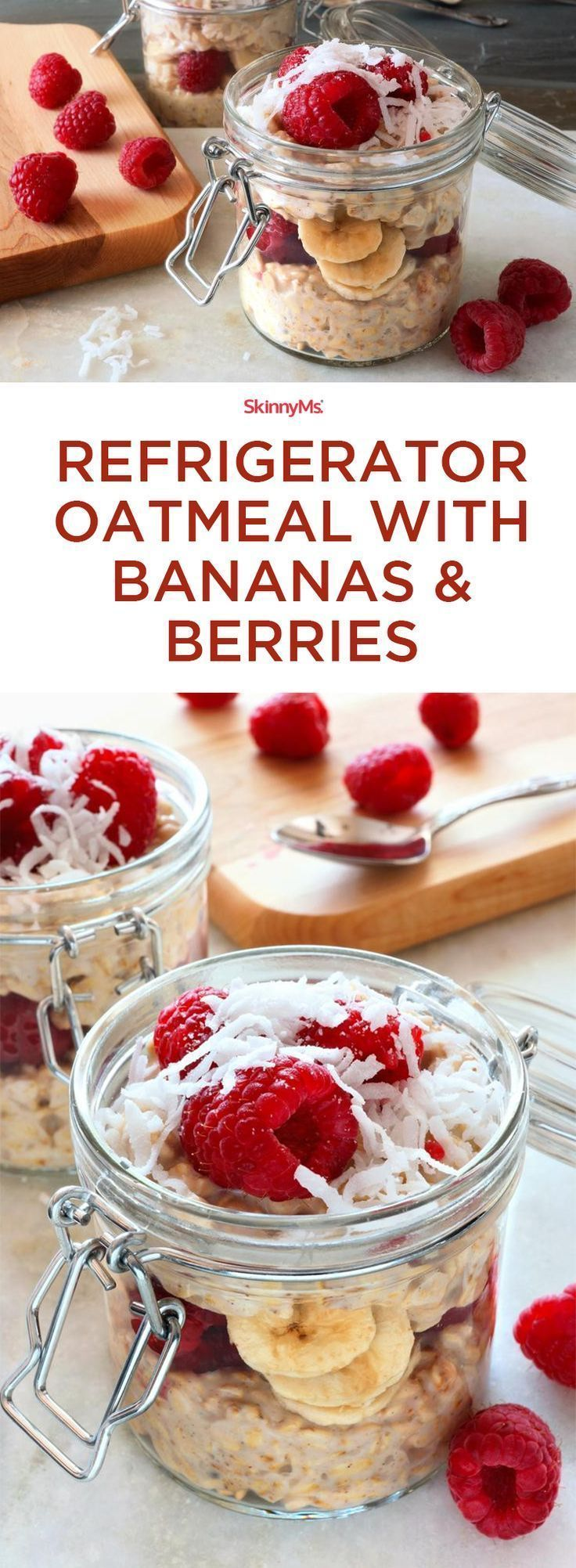 Refrigerator Oatmeal with Bananas & Berries! Soooo yummy!