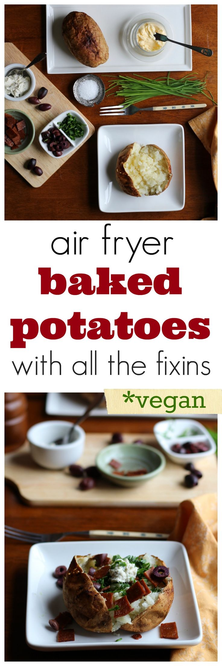 Get ready for the best baked potato of your life - cooked in the air fryer! Crisp peel, pillowy center, and all of your favorite vegan fixins. | cadryskitchen.com