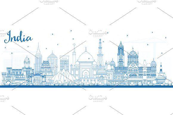 #Outline #India #City #Skyline by Igor Sorokin on @creativemarket