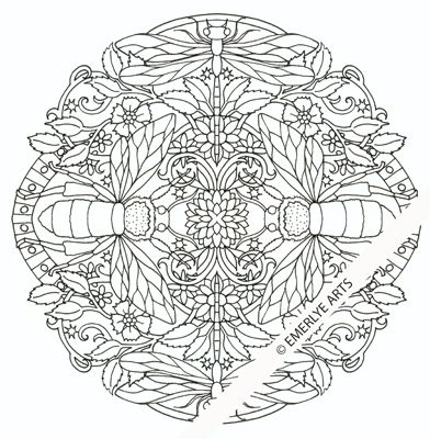 quot Insects quot Mandala an adult coloring page part of Emerlye