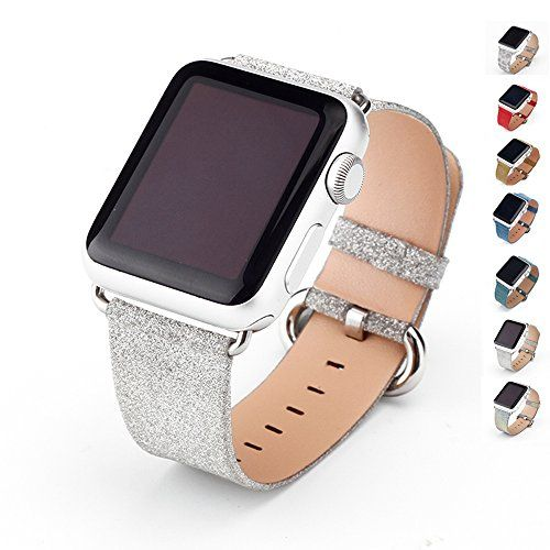 MIFFO iWatch Strap Extreme Deluxe Shiny Bling Glitter Leather Bracelet Wristband for Apple Watch Series 1/2/3 Silver 38 mm