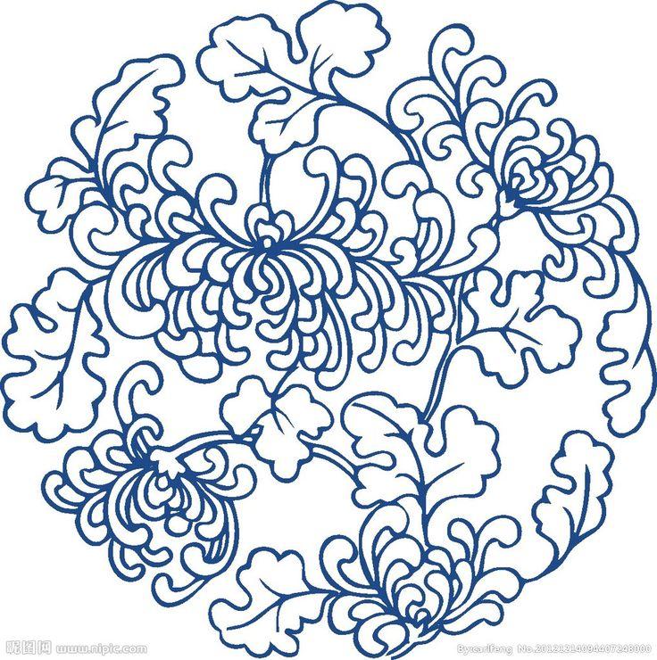青花菊图案