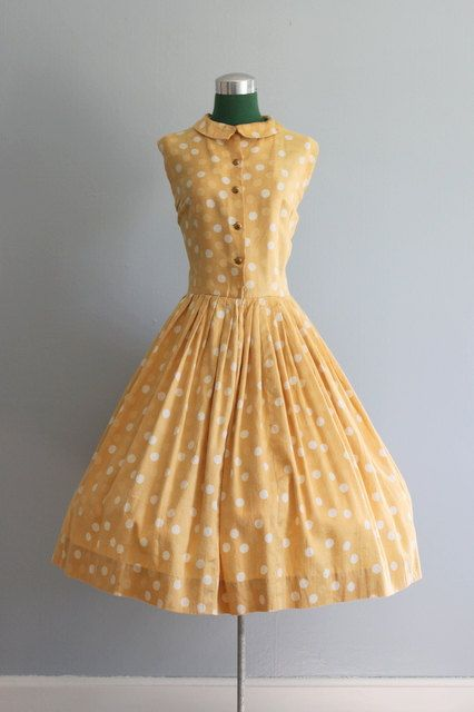 Vintage Dress / 50s Polka Dots Dress / 1950s by HolliePoint