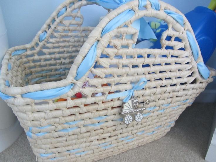 Moses basket, baby blue and white nursery, Cindy Kus, baby boy nursery