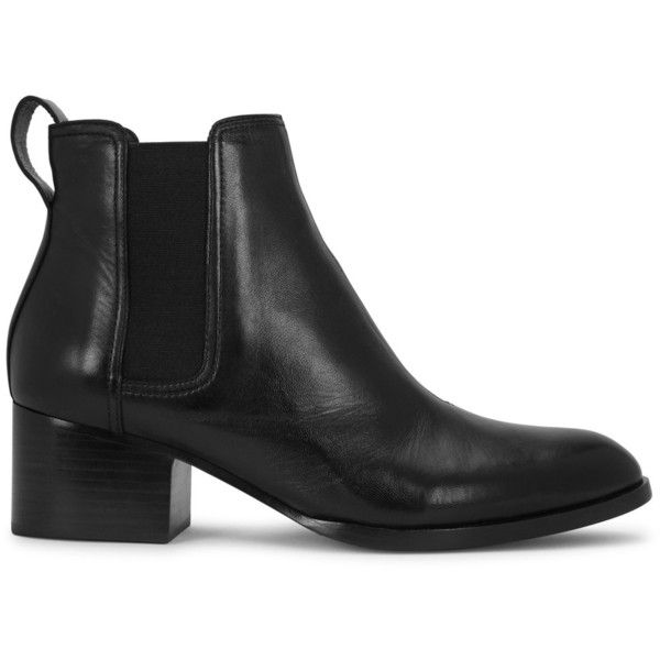 Rag & Bone Walker Black Leather Chelsea Boots - Size 4 ($530) via Polyvore featuring shoes, boots, pointed chelsea boots, leather boots, black shoes, chelsea ankle boots and black mid heel boots