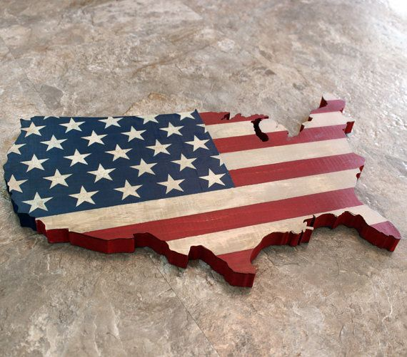 USA Wall Hanging, Rustic United States Flag Map, House Warming Gift, Home Decor, Wooden Patriotic American Flag, Americana
