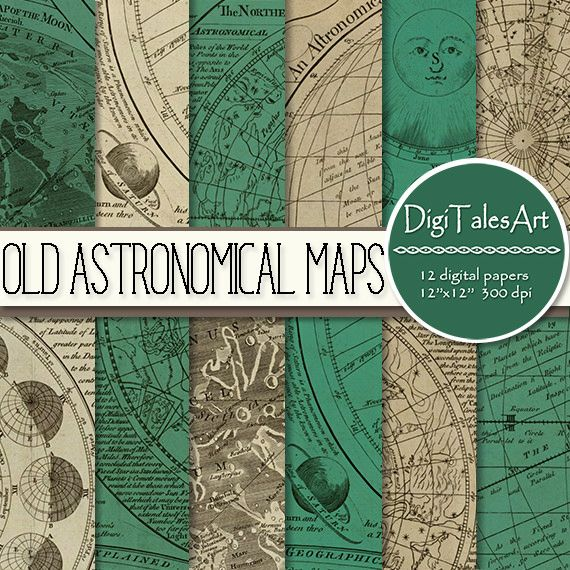 """https://flic.kr/p/DfnPQX   Printable vintage map digital scrapbook paper """"Old Astronomical Maps"""" with antique maps of solar system moon sky stars, old grunge textures   """"Old Astronomical Maps; vintage maps digital paper pack with worn old textures representing maps of the solar system, planets, moon surface, visible sky, southern and northern hemisphere constellations."""