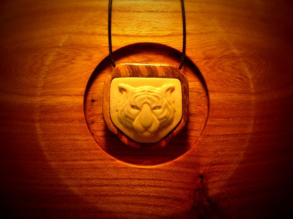 Pendant Tiger a gift for a friend, a gift for a boyfriend, zebrano wood, natural cattle bones, carved bone, bone carving, handmade jewelry.