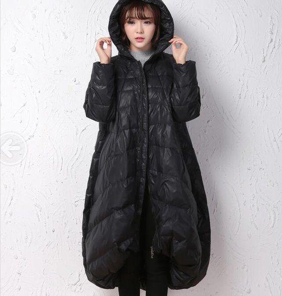 Winter Coat,Black A-line Coat, Hooded Winter Down Coat,Women Down Coat,Women Coat, Thick Down Coat Plus Size 2