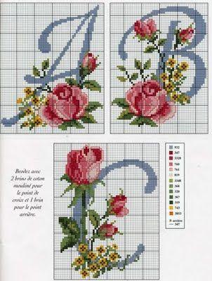 cross stitch rose alphabet