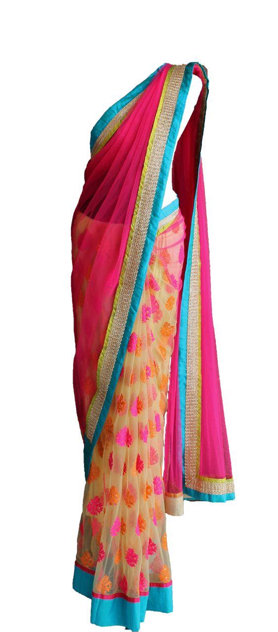Pret'i by Priti Sahni | Multicolour Net Saree | SCARLETBINDI.COM