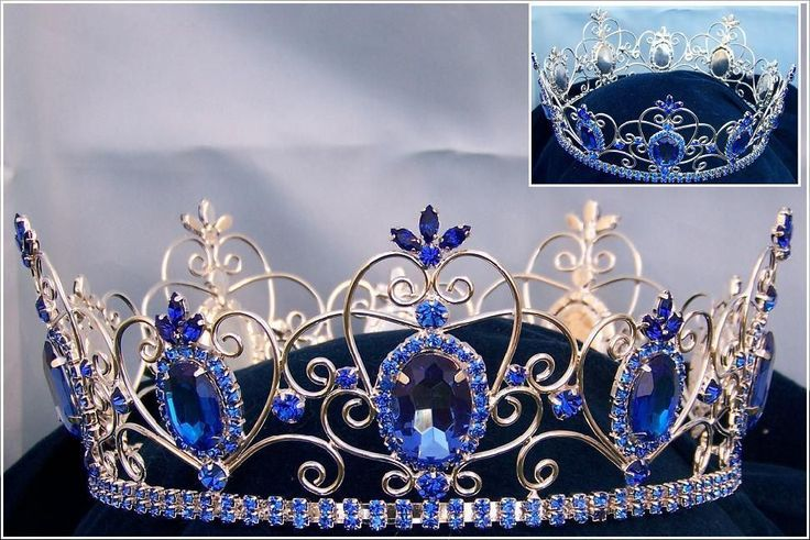 Rhinestone Imperial Celtic Jewelled Mens Silver blue Crown
