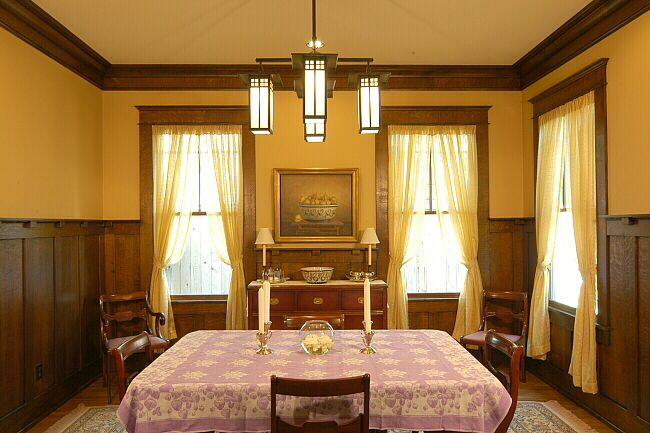 456 best craftsman style images on pinterest bungalows for Arts and crafts dining room set