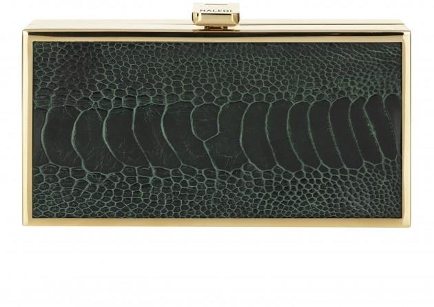 Naledi Copenhagen NB30 ostrich box clutch, dark green with pale gold hardware - AW13