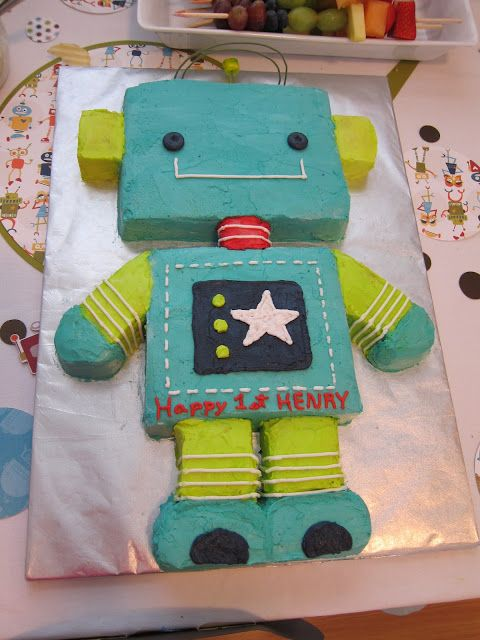 robot cake - happy robot, great colors