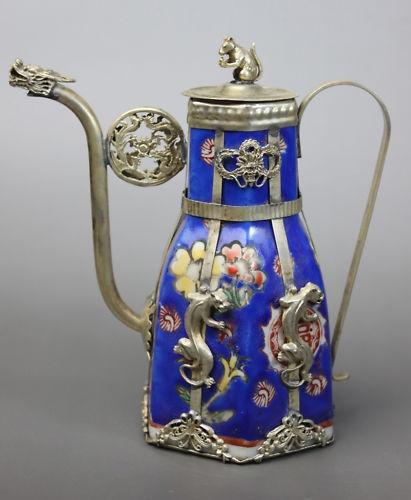 Chinese Porcelain Dragon Leopard Tea Pot.