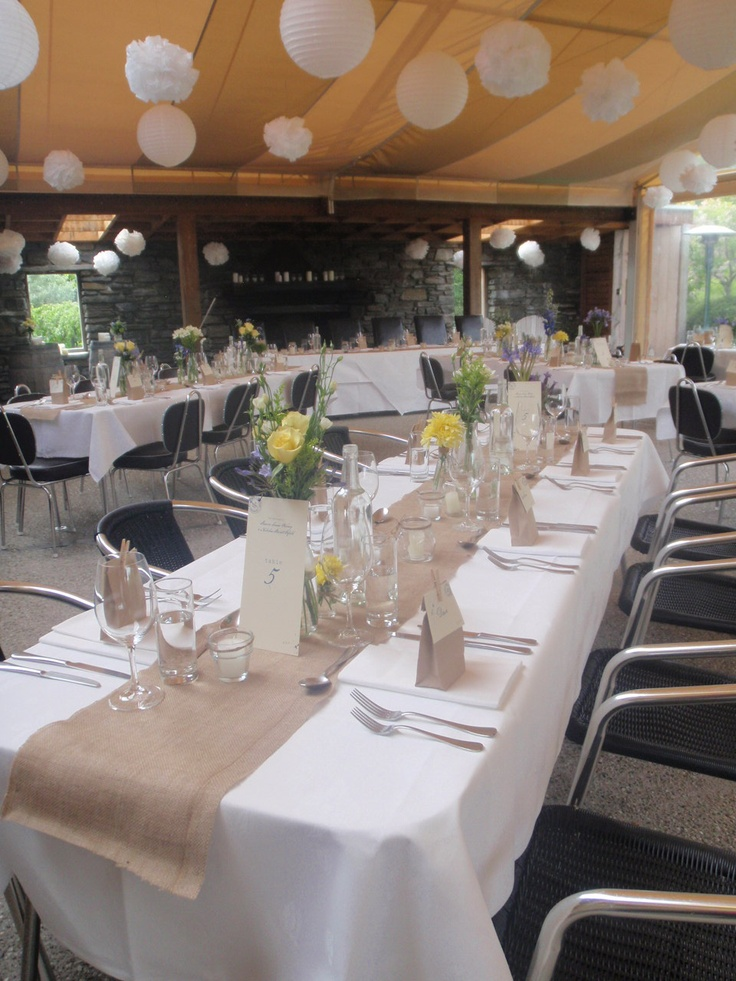 wedding reception locations nyc%0A white pompoms and lanterns w  hessian table runners  Find this Pin and more  on Queenstown Wedding Venues